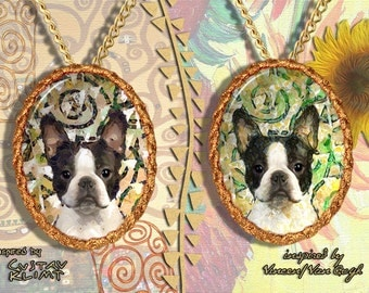 Boston Terrier Jewelry Pendant - Brooch Handcrafted Porcelain by Nobility Dogs - Gustav Klimt and Van Gogh Style