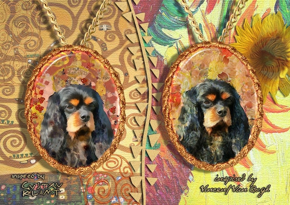 Cavalier King Charles Spaniel Jewelry Pendant - Brooch Handcrafted Porcelain by Nobility Dogs - Gustav Klimt and Van Gogh Style