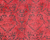 "Prague Chianti Damask Velvet  Upholstery Fabric by the yard 54"" wide"