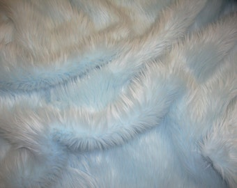 "Light Blue shaggy faux fur upholstery fabric per yard 60"" Wide"