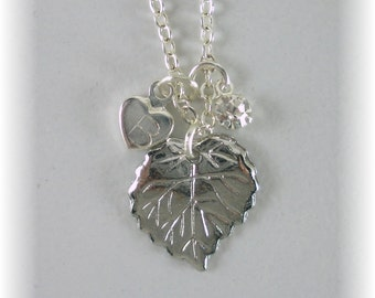 Silver Stamped Initial Necklace with Gift Card