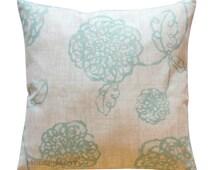 Home Decor Pillows, Magnolia Adele Spa Blue Pillow Cover, Zippered Pillow, Floral Pillow, Poppy Pillow, Toss Pillows, Blue-Green Pillow Case