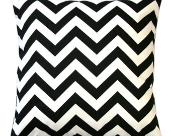 Accent Pillows, Black and White Chevron Pillow Cover, Black Zig Zag Pillow, Zippered Pillow, Chevron Decor, Couch Pillows, Black Pillow Case