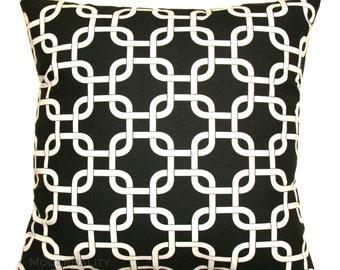 CLEARANCE Toss Pillow Covers, Black Gotcha Pillow, 14x14 or 12x16 Zippered Pillow, Chainlink Pillow, Black Trellis Pillow, Cyber Monday SALE
