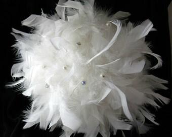 Simply Elegant Full White Feather Bouquet Custom Design Bouquet Bridal Bouquet Wedding Bouquet