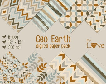 Geo Earth Digital Collage Paper Pack Instant Download