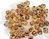 Czech Bicone 6x6mm Crystal Picasso Pressed Glass Beads - 50 Pieces (N101)