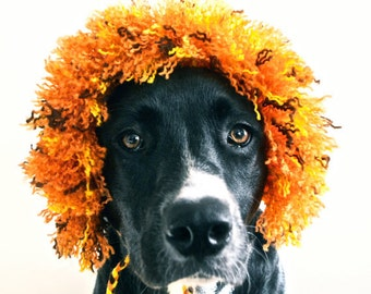 Lion Costume for Dogs - Full Mane - Hand Knit Dog Hat - Custom Sizing - Dog Halloween Costume