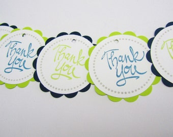 Baby Shower Favor Tags - Thank You Tags - Lime and Navy - Set of 12 tags - Handmade