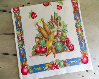C W Prismacolor Linen Kitchen Towel Harvest Vegetables Fall Decor Colorful Kitchen Towel Retro Towel Vintage Dish Towel Autumn Decor