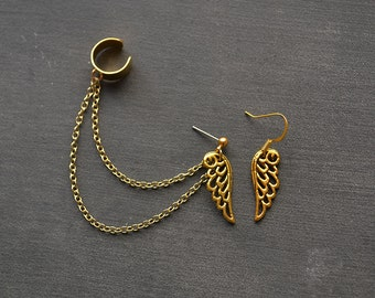 Gold Wing Double Chain Ear Cuff Earrings (Pair)