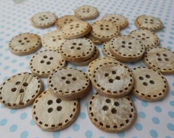 Natural Coconut Buttons 6pcs