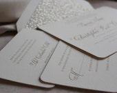 Wedding Invitations, Letterpress Invitations, Wedding Invites, Classic, Gold