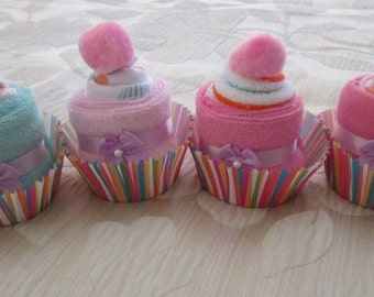 Baby Washcloth Cupcakes/ Baby Shower/ Baby Birthday/Party/Gifts