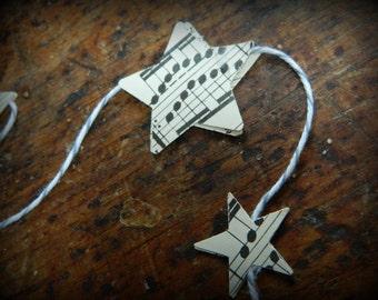 Mini stars vintage music garland - 3 feet