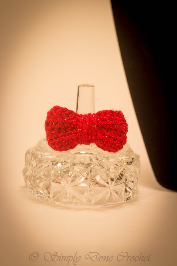 Handmade Crochet Ring Sparkly Red