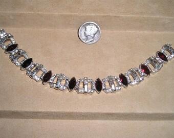 Signed KTF Trifari Rhinestone Bracelet Vintage Art Deco Red Marquise Stones Rhodium Plated 1930's Jewelry 3032