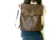 Brown leather messenger bag - elk leather bag - large bag - handmade leather bag - hand sewn