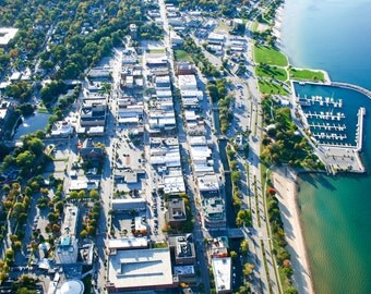 Arial View Downtown Traverse City Michigan Print Various Sizes