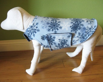 Fleece Dog Coat, Small, Blue, White, and Navy Snowflake Print Fleece with Navy Blue Fleece Lining
