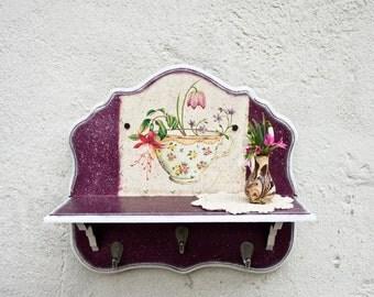 Wooden Shelf with Hooks, Cottage Chic Wood Shelf, Spice Rack, Purple Home Decor