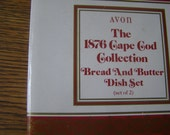 Avon Cape Cod Ruby Red Bread & Butter dish set in Original Box    New Old Stock