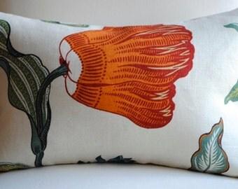 Ready to Ship- Beautiful  FLORAL Designer Pillow Cover- Hot House Flowers-12x18-LINEN-Throw Pillow-Accent Pillow-Schumacher Pillow