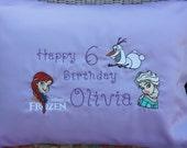 Disney Frozen Embroidered Elsa Anna Olaf Happy Birthday Pillow Case
