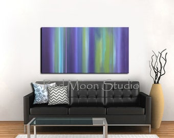 Abstract Art Abstract Painting, Larg 48x24, Shipping Included, Purple and Green Abstract Painting
