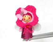 Pinky pink Flower Fairy MochiQtie Amigurumi - Mochi size crochet mini stuffed toy doll - Crochet Amigurumi art doll