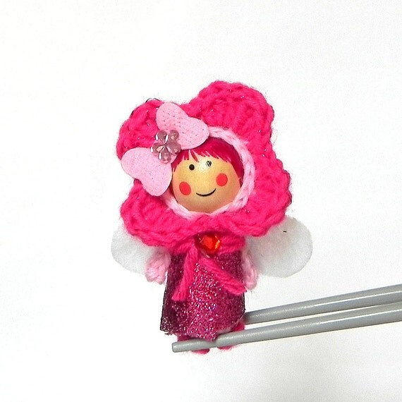 Pinky pink Flower Fairy MochiQtie Amigurumi Mochi size