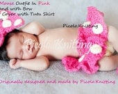 EXCLUSIVE Line Disney Inspired Crochet Newborn Minnie Mouse Outfit: Headband, Diaper Cover with Tutu Skirt and Shoes - in PINK Photo. Prop