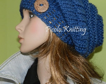 Modern Slouchy Hat, Women/Teen Light Chunky Modern Slouch Hat, Big Beanie, Rasta Cap, Hipster Beanie, hairy Denim Blue with Button