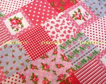 C003A - 1 meter Cotton fabric -  Patch - rose / dot / strip - pink