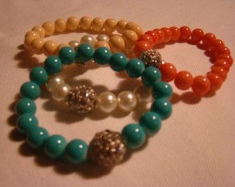 Stretchy Chunky Bracelets with Bling