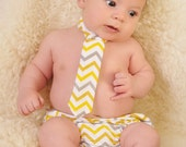 Diaper Cover and Tie Set Birthday Cake Smash Newborn Photo Prop Baby Boy Little Man Bright Yellow Mustard Yellow Light Gray Chevron Modern