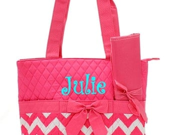 Personalized Chevron Diaper Bag Set - Zig Zag Baby Girl Tote Set - Hot Pink Chevron Quilted Diaperbag