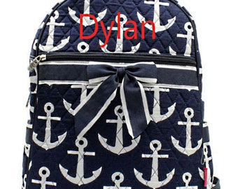 Personalized Anchor Print Quilted Backpack or Diaper Bag - Navy & White Booksack Boys or Girls Monogrammed FREE