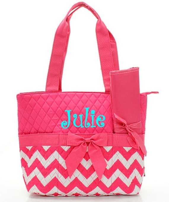 Personalized chevron diaper bag set zig zag baby girl tote