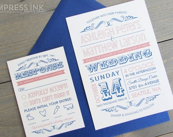 Vintage Typography Ornate Wedding Invitation Sample | Flat or Pocket Fold Style