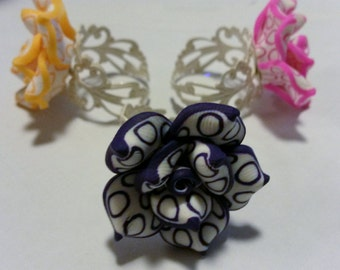 Two Tone Flower Cabochon Ring