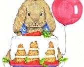 Cute Birthday Bunny Card - Congratulations Card - Birthday Cake Card