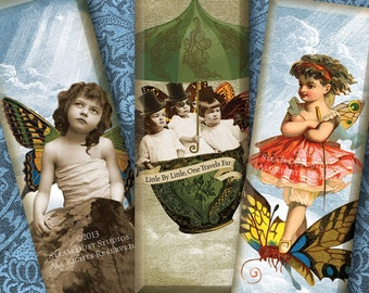Victorian Steampunk Fairy Children - 1x3 Inch Microscope Slide Images - Digital Collage Sheet - Instant Download and Print