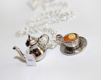 Tea Party Necklace - Food Necklace - Kawaii necklace