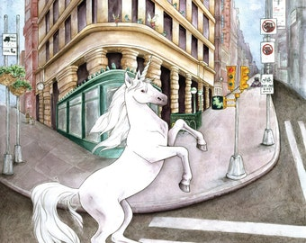 Unicorn in the Flatiron District giclée print