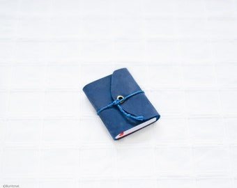 Navy blue pocket leather journal, mini diary - small leather journal