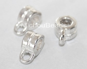 25 Bright SILVER Charm HOLDER Spacer Bail Links - 8x4mm w/ 3mm Hole Nickel Free Metal Tube Slider Pendant - Instant Ship from USA - 5699
