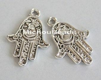 2 Fatima HAMSA Hand 25mm Charm Pendant - Antiqued SILVER 25x15mm Double Sided Boho Luck Protection Charm Dangle - USA Seller - 5612