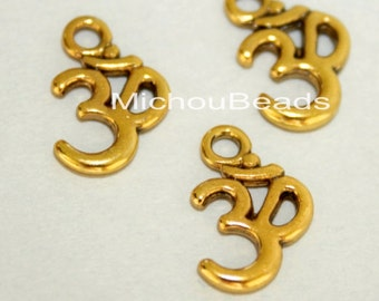 25 Antiqued GOLD OM Symbol Yoga Charms - 15x10mm Ohm Meditation Buddhist Symbol Nickel Free Charm Pendant - Instant Ship from USA - 5750