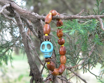Yoga ....bracelet meditation stackable  howlite turquoise blue skull day of the dead bohemian gypsy healing tribal